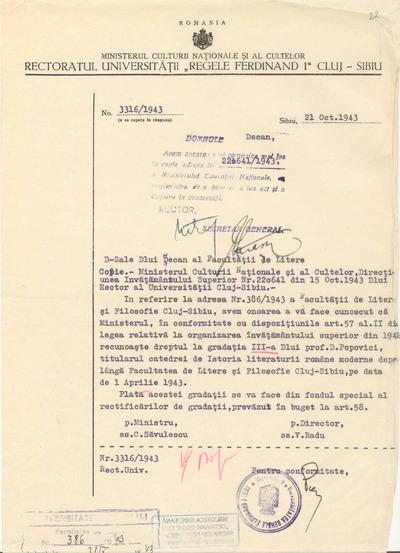 [Comunicare a Facultăţii de Filosofie şi Litere Cluj-Sibiu către prof. Dumitru Popovici]