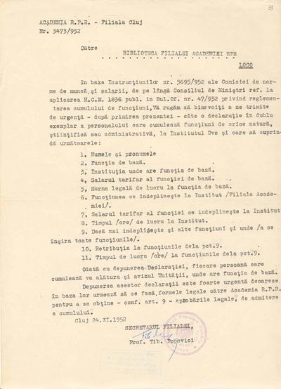 [Adresă a Academiei R.P.R. - Filiala Cluj către Biblioteca Filialei Academiei R.P.R.]