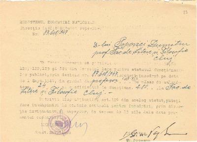 [Decizie a Ministerului Educaţiei Naţionale de încadrare a lui Dumitru Popovici pe un post de profesor la Facultatea de Litere şi Filosofie Cluj]