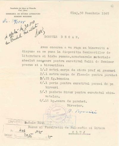 Cerere [înaintată de prof. Dumitru Popovici către decanatul Facultăţii de Filosofie şi Litere Cluj]