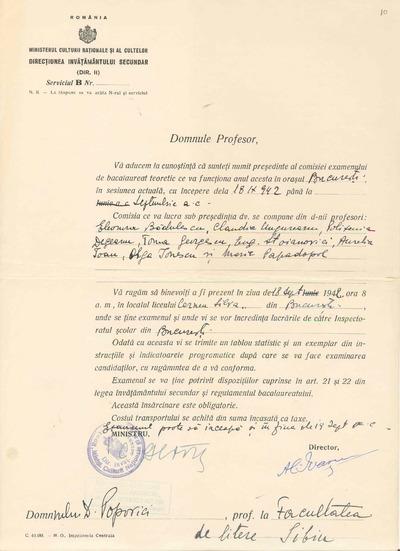 [Înştiinţare privind numirea prof. Dumitru Popovici în calitate de preşedinte al comisiei examenului de bacalaureat teoretic]