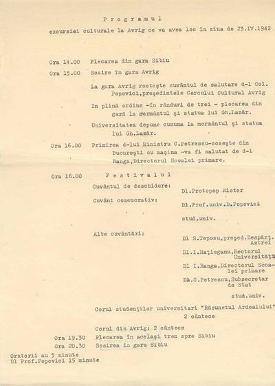 Programul excursiei culturale la Avrig ce va avea loc în ziua de 23.IV.1942