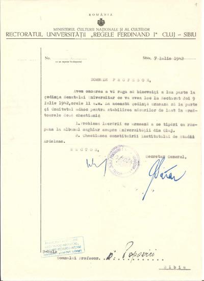 [Convocare la şedinţa Senatului Universităţii, din 9 iulie 1942]