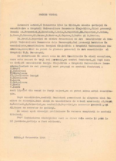 Proces-verbal [încheiat în şedinţa de constituire a Grupării Universitare Democrate, Secţia Cluj-Sibiu, la 6 octombrie 1944]