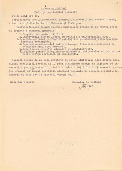 Proces-verbal nr.3 [Şedinţa Comitetului central al Grupării Universitare Democrate, din 25 noiembrie 1944]
