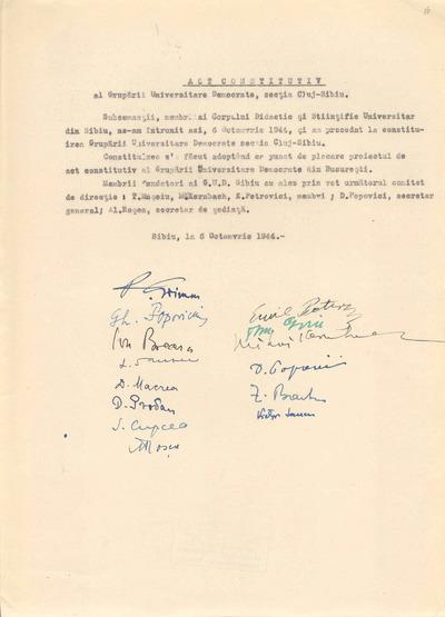 Act constitutiv al Grupării Universitare Democrate, Secţia Cluj-Sibiu