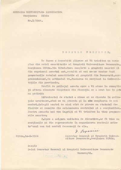 [Scrisoare adresată Secretarului General al Grupării Universitare Democrate Bucureşti de către Dumitru Popovici în calitate de Secretar General al Grupării Universitare Democrate, Secţiunea Sibiu]