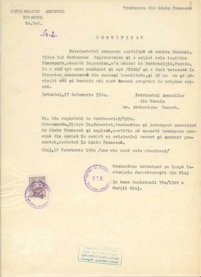 Certificat [de naţionalitate şi religie eliberat pe numele Dirouhi Bagdassaryan]