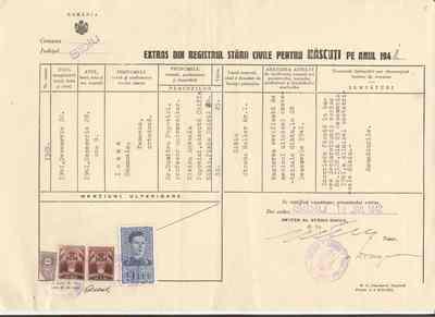 Extras din Registrul Stării Civile pentru Născuţi pe anul 1941 [referitor la Ioana Emanuela Popovici]