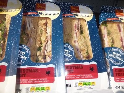 takeaway selection of seasonal sandwich with bacon
