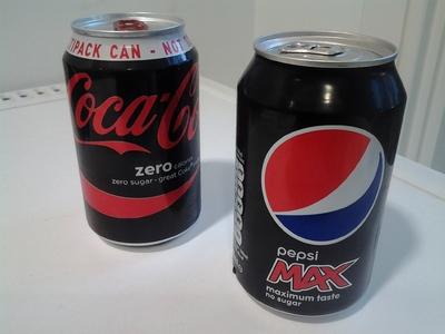 tins of sugar free cola