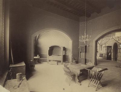 Kiállításfotó - 15. századi lakószoba rekonstrukciója a millenniumi kiállítás történelmi főcsoportjának gótikus épületében