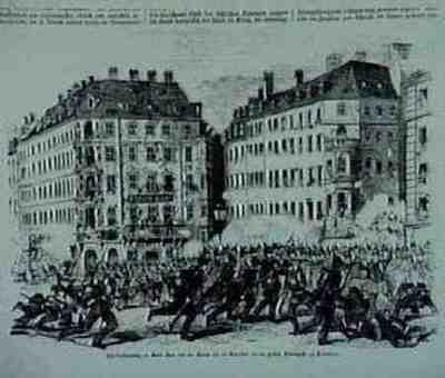 Barrikade an der grossen Frauengasse. Aus: Illustrirte Zeitung, 26.5.1849, S. 328