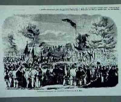 Volksversammlung auf dem Judenbühl in Nürnberg am 13.5.1849. Aus: Illustrirter Zeitung, 9.6.1849, S. 361