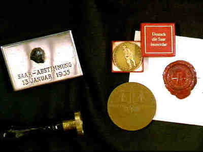 Stamp, coins and glasspictures in box