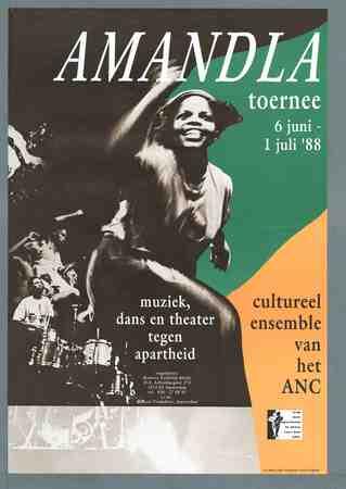 Amandla toernee 6 juni - 1 juli 1988 : muziek, dans en theater tegen apartheid
