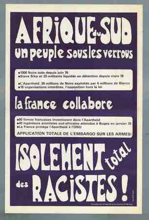 Afrique du Sud un peuple sous les verrous - La France collabore - Isolement total des racistes!