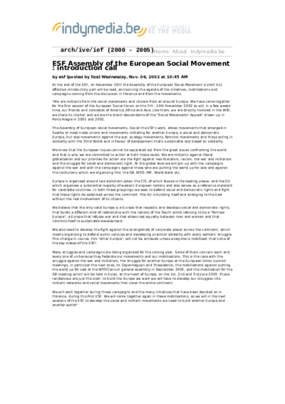 ESF Assembly of the European Social Movement :  introduction call
