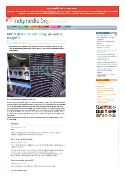 MS13 (Mara Salvatrucha), nu ook in België ?