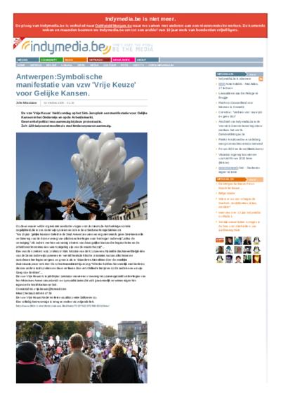 Antwerpen:Symbolische manifestatie van vzw 'Vrije Keuze' voor Gelijke Kansen.