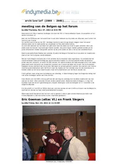 meeting van de Belgen op het forum