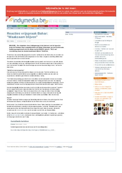 Reacties vrijspraak Bahar: Waakzaam blijven