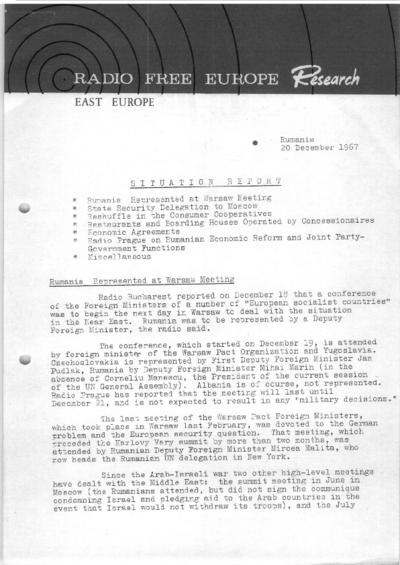 Situation Report: Romania, 20 December 1967