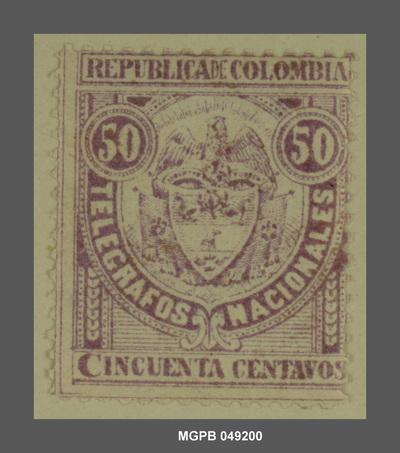 50 centaus Escut de la República Colòmbia