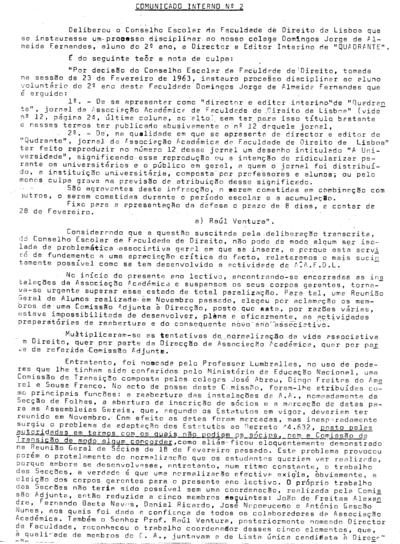 Comunicado interno nº 2 da Comissão Adjunta da Associação Académica da Faculdade de Direito de Lisboa