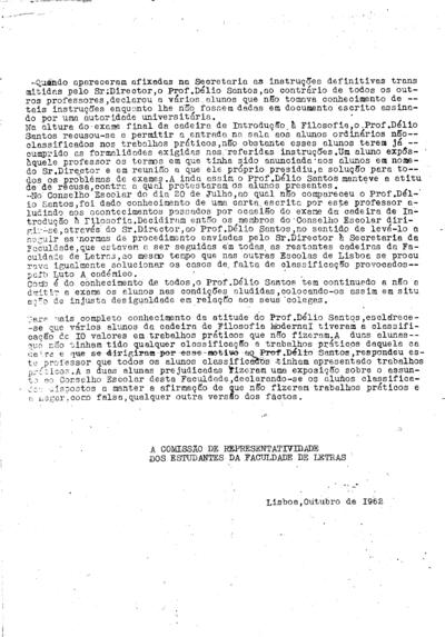Esclarecimento da Comissão de Representatividade dos Estudantes da Faculdade de Letras
