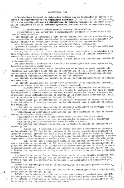 Comunicado nº 1 do Secretariado Nacional de Estudantes