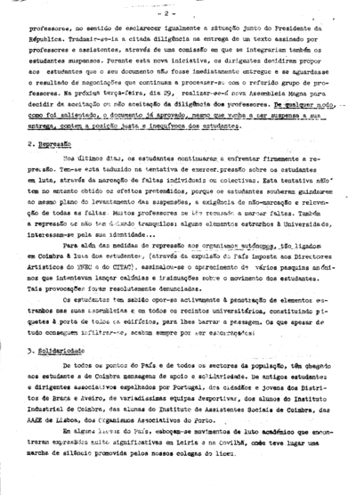 Comissão Nacional dos Estudantes Portugueses - Comunicado n.º 3