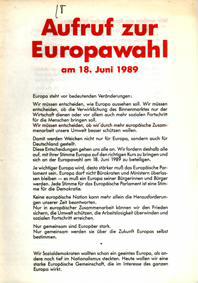 Aufruf zur Europawahl am 18. Juni 1989
