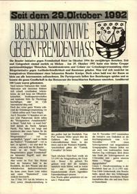 Seit dem 29. Oktober 1992 Beueler Initiative gegen Fremdenhass
