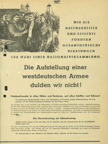 Die Aufstellung einer westdeutschen Armee dulden wir nicht!