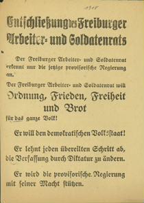 Entschließung der Freiburger Arbeiter- und Soldatenrats