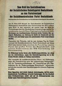 Zum Brief des Zentralkomitees der Sozialistischen Einheitspartei Deutschlands an den Parteivorstand der Sozialdemokratischen Partei Deutschlands