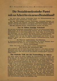 Die Sozialdemokratische Partei ruft zur Arbeit für ein neues Deutschland!