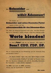 Wer Schneider wählt wählt Adenauer