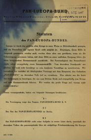 Statuten des Pan-Europa-Bundes