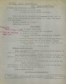 Déclaration du camarade Yvon Rocton, membre du Comité de Grève de l'usine de Sud Aviation
