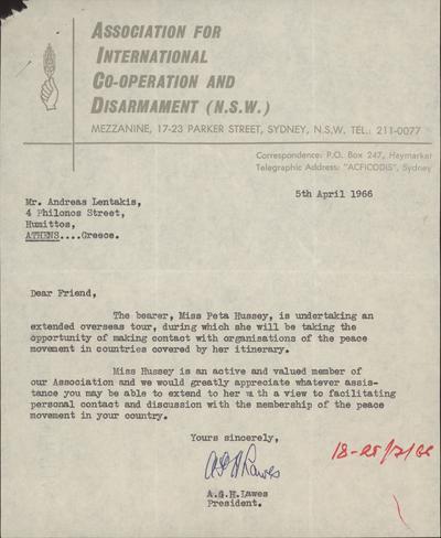Αλληλογραφία της ΔΝΛ με οργανώσεις της Αυστραλίας
