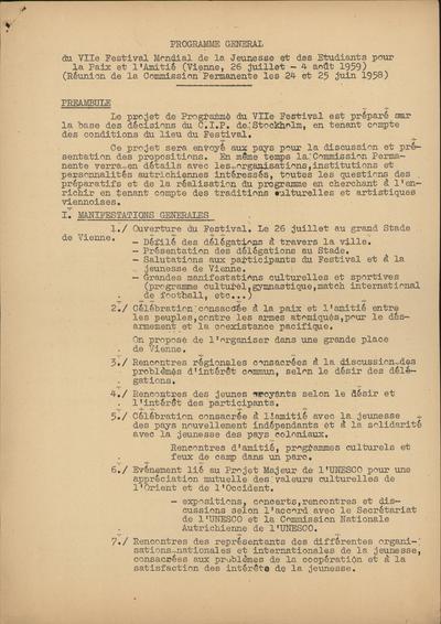 Programme Generale du VIIe Festival Mondial de la Jeunesse et des Etudiants pour la Paix et l Amitie (Vienne, 26 juillet - 4 aout 1959)