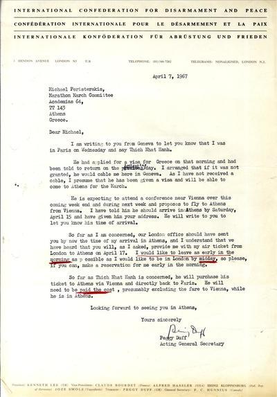 Επιστολή της Διεθνούς Συνομοσπονδίας για τον αφοπλισμό και την ειρήνη