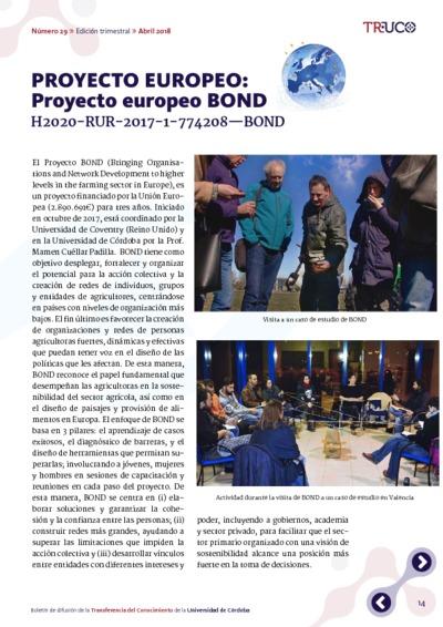 PROYECTO EUROPEO: Proyecto europeo BOND H2020-RUR-2017-1-774208—BOND