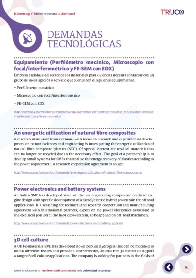 Boletín TR-UCO. Demandas tecnológicas, n. 29