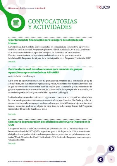 Boletín TR-UCO. Convocatorias y actividades, n. 29