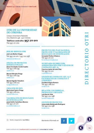 Boletín TR-UCO. Directorio OTRI, n. 29
