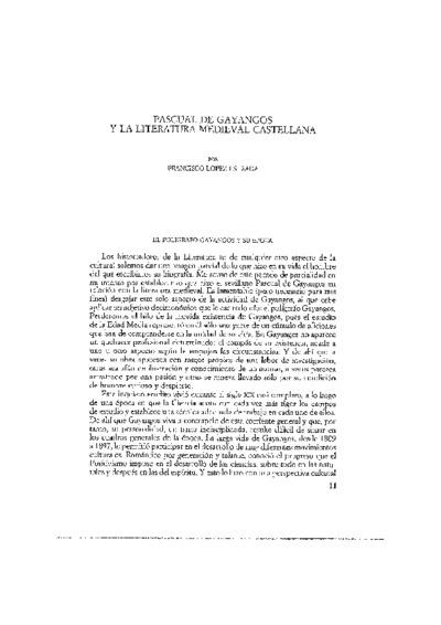 Pascual de Gayangos y la literatura medieval castellana
