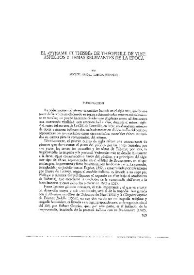 El Pyrame et Thisbé de Théophile de Viau. Aspectos y temas relevantes de la época